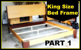 How To Build A King Size Platform Bed With Drawers by Diy King Size Bed Frame Part 1 Youtube