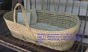 baby moses basket set with wool mattress padded bumper hemp