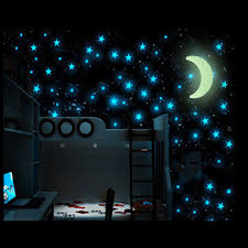 glow in the stickers keythemelife 100pcs glow wall stickers with1 pcs moon