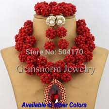 aliexpress bead necklace images Amazing sharp red african costume jewelry set indian bridal jpg