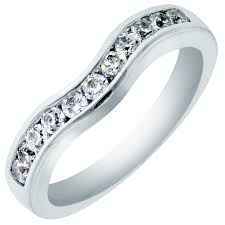 curved wedding band diamond curved wedding channel band in 14kt white gold 3 8ct tw
