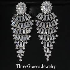 big diamond earrings vintage design big cubic zirconia synthetic diamond bridal