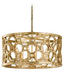 corbett six light stained leaf drum shade pendant stained