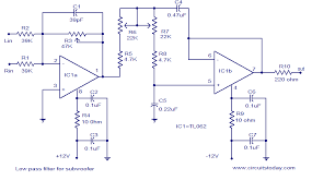 low pass filter for subwoofer electronic circuits and diagram