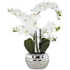 faux orchids white phalaenopsis 23 h faux orchid in silver ceramic pot 7g585