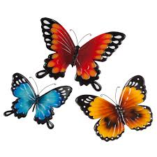 metal butterflies set of 3 wall décor kimball