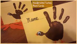 handprinted thanksgiving place cards toddler preschooler