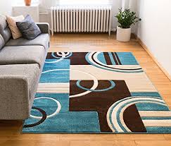 Blue Brown Area Rugs Echo Shapes Circles Blue Brown Modern Geometric