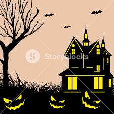 background for halloween banner or background for halloween party night with haunted house