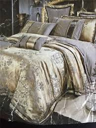 4pcs luxury damask tribute silk bedding set king size duvet cover