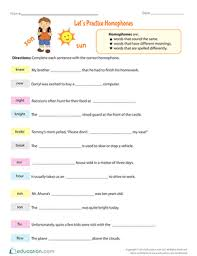 let u0027s practice homophones worksheet education com