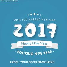 name write on happy new year message with 2017 text pictures