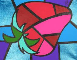 Original Home Decor Strawberry Cubism Art Picasso Strawberry 8x10 Acrylic Painting