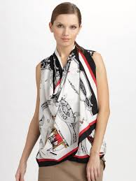 scarf blouse lyst dkny silk crepedechine scarf blouse in white