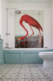 bathroom red flamingo wall tiles in white bathroom with blue