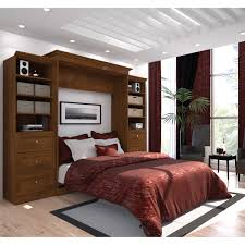 Storage Wall Units Bestar Audrea Queen Wall Bed With Two 25