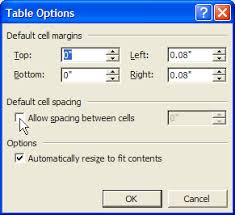 Table Cell Spacing Working With Tables