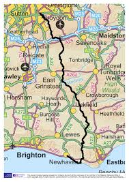Sussex England Map by The Vanguard Way Long Distance Walking Trail