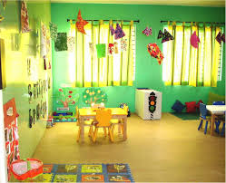 preschool classroom with green wall for cozy and best preschool