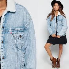 Light Jean Jacket Shearling Denim Jacket Levis Denim Jacket From Shopexile On Etsy