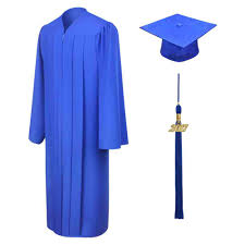 cap and gown matte royal blue middle school cap gown tassel gradshop