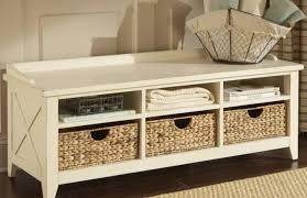 bench white mudroom storage bench with dark wicker storage