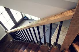 Wood Banisters And Railings Rustic Natural Wood Stair Rail With Steel Pipe Spindles For The