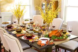 dining room thanksgiving dining table decoration with yellow