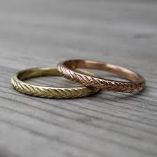 wedding band set feather wedding band set recycled gold kristin coffin jewelry