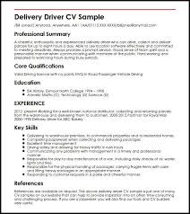 Delivery Driver Duties Resume Delivery Driver Cv Sample Myperfectcv