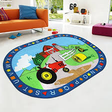 Cheap Kid Rugs Rug Abc Shapes With Farm Tractor For Playroom Nursery