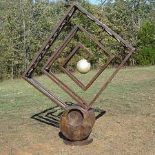 recycled steel garden or yard outside and outdoor sculpture by