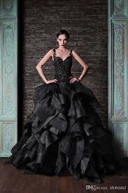 black gothic princess wedding dress arabic ball gown lace see
