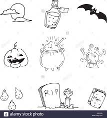 Draw Halloween Doodle Of Set Halloween Hand Draw Stock Vector Art U0026 Illustration