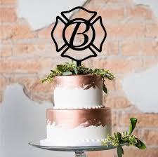 firefighter wedding cake topper maltese cross cake topper custom acrylic cake topper laser cut