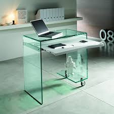 modern minimalist computer desks using pure white color and solid