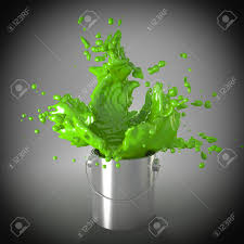 explosion of paint color in metal can stock photo picture and