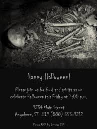 halloween party invitation with a skeleton
