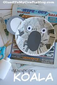 newspaper koala kid craft glued to my crafts