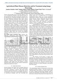 Plant Disease Journal - agricultural plant disease detection and its treatment using image