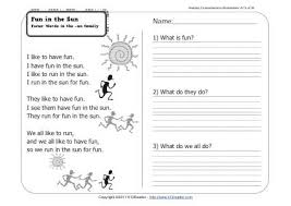 fun in the sun 1st grade reading comprehension worksheet wk 15