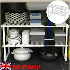 kitchen sink cabinet caddy details about white sink storage shelf shelves organizer space saving cupboard tidy rack
