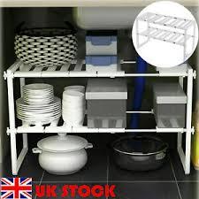 kitchen sink cabinet caddy details about white sink storage shelf shelves organizer space saving cupboard tidy rack