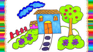 how to draw and paint house learning coloring pages for kids