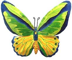 bright green butterfly wall decor painted metal design