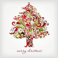 floral swirls tree for christmas vector graphic webbyarts