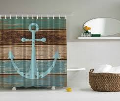 rustic old anchor shower curtain wooden deck beach nautical bath