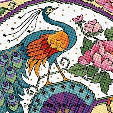 lesley teare designs glorious peacock fan cross stitch pattern
