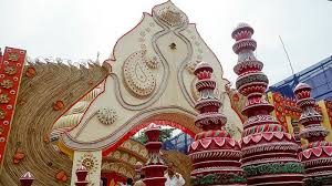 Decoration Of Durga Puja Pandal File Colorful Durga Puja Pandal Decorations From Kolkata Jpg