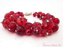 red beads bracelet images Red cluster bracelet red beaded bracelet swarovski crystals jpg